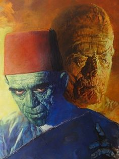 Art of Basil Gogos featuring Karloff as Ardath Bey Imhotep Universal Monsters Art, Movie Monsters, Movie Art, Famous Monsters, Monster Art, Monster Artwork, Art, Wolfman, Classic Monster Movies
