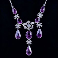 This spectacular Victorian necklace is set with Purple and White Paste Stones, Circa Purple Necklace, Diy Necklace, Stone Necklace, Pendant Necklace, Collier Antique, Diy Collier, Antique Necklace, Silver Necklaces, Antique Jewelry