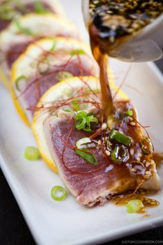 Japanese - キハダ鮪のたたき - Tuna tataki with sesame oil, ponzu & green onion.