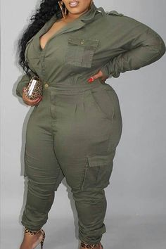 Lovely Casual Buttons Design Army Green Plus Size One-piece Jumpsuit_Plus Size Jumpsuit_Plus Size Jumpsuits_Plus Size_LovelyWholesale | Wholesale Shoes,Wholesale Clothing, Cheap Clothes,Cheap Shoes Online. - LovelyWholesale.com Apple Shape Fashion, New Look Fashion, Curvy Girl Fashion, Plus Size Fashion, Thick Girls Outfits, Girl Outfits, Casual Outfits, Casual Wear, Casual Dresses Plus Size