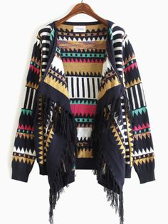 To find out about the Royal Blue Long Sleeve Geometric Pattern Tassel Cardigan at SHEIN, part of our latest Sweaters ready to shop online today! Semi Formal Attire, Estilo Tribal, Cool Sweaters, Fashion Outfits, Womens Fashion, Blue Tops, Dress To Impress, Mantel, Autumn Fashion