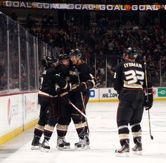 Looks like there are lots of hockey hugs going on in the stands too after this goal at Honda Center!