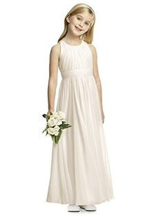 b5fc96c8769f8 From Dessy  Jewel neck flower girl dress in dupioni has full shirred skirt.  Matching or contrasting pleated sash with handworked flower detail.