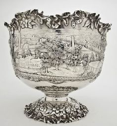 S Kirk & Son sterling silver punchbowl, with scene of town of Mt Savage, Maryland-presented to W. Bladen Lowndes, son of Lloyd Lowndes, Jr. (Governor of Maryland, 1896-1900) by the directors of the First National Bank of Mt. Savage c1911.
