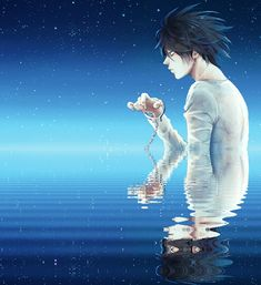 I actually think this is L after he died among the stars still wearing the handcuffs because it is the only thing he has left of Light.The water is the human world sky at night and Light sometimes looks up quickly and sees just a quick mirage of L before he disapears back into the stars as a tear falls down his cheek thinking about what he did.
