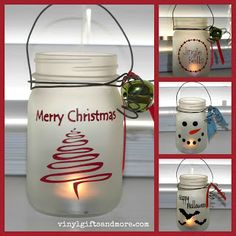 "Mason Jar Craft - great teacher's gift. Instead of using vinyl decals, have your kids paint Santa or a snowman on it and have them ""sign"" it."