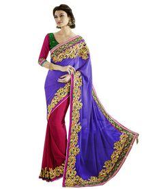 Lovely Border Designe Blue & Red #PartyWear #Saree