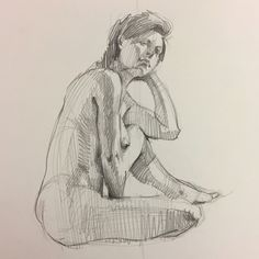 Life drawing, figure sketch in graphite by Sarah Sedwick