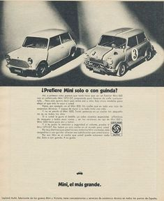 Mini by Leyland Authi. Cooper Car, Mini Copper, Minis, Garage, Old Ads, Classic Mini, Pictures Of You, Vintage Ads, Jaguar