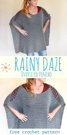 Free crochet pattern for this crazy cool oversize ombre sweater. Easy crochet pattern for the beginner. Crochet Poncho Patterns, Crochet Cardigan, Crochet Shawl, Free Crochet, Knit Crochet, Crochet Vests, Crochet Ideas, Crochet Projects, Crochet Sweaters