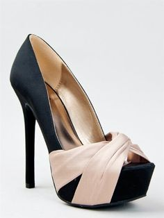This buxom pump will elongate your legs and highlight your curves with the twisted satin knot featured over the peep-toe opening. Pumps have a sexy stiletto heel and covered platform sole to give you the height you desire.