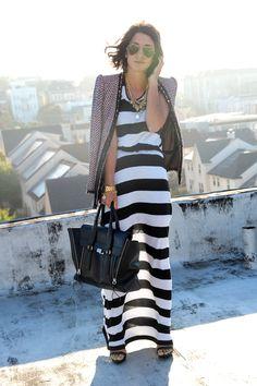 maxi falda rayada outfit - Buscar con Google