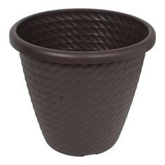 Maceta plástica color chocolate acabado mate textura de tejido y borde superior de 2cm de espesor. De 40cm de diámetro superior 36cm de altura y 23cm de diámetro inferior.