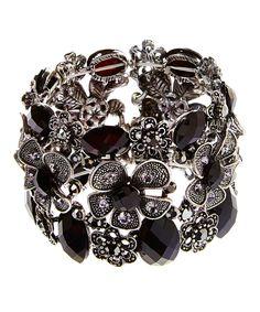 Punky Jewels Black & Silvertone Floral Medallion Stretch Bracelet by Punky Jewels #zulily #zulilyfinds