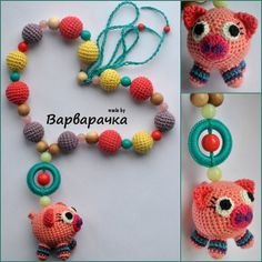 #Nursingnecklace #Breastfeeding necklace with #amigurumi #pig