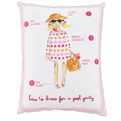 Fashionista Throw Pillow Beach Day | The Land of Nod