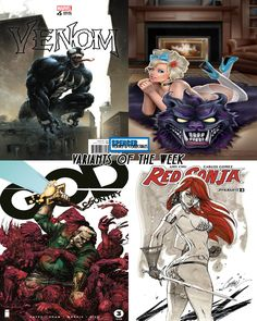 Our favorite variant comic covers out today for new comic book day! Venom #5 by Clayton Crain, Grimm Fairy Tales Serial Killer Princess #3 by Keith Garvey, God Country #3 by Gerardo Zaffino & Jason Wordie, Red Sonja #3 by J Scott Campbell. #NCBD #comicbookart
