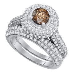 14kt White Gold Womens Round Cognac-brown Color Enhanced Diamond Halo Bridal Wedding Engagement Ring Band Set 2-1/12 Cttw #diamondweddingbands