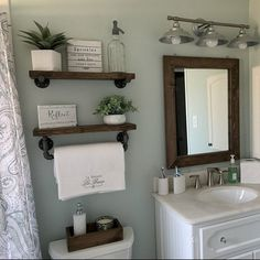 mirror shelves toilet paper box farmhouse bathroom decor ideas olathe custom furniture store - Tidy up your toiletries with this floating shelf and towel bar set. The sturdy bathroom floating shelves provide storage in a rustic, yet cozy, farmho. Wooden Wall Shelves, Wood Floating Shelves, Mirror Shelves, Wall Wood, Small Shelves, Ladder Shelves, Decorative Shelves, Floating Shelf Decor, Floating Cabinets