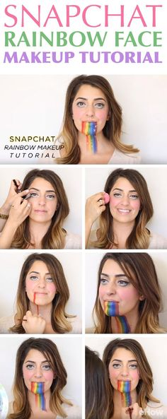Need a last-minute Halloween costume that is far from boring yet costs you close to nothing? Become a Snapchat filter in real life! This rainbow throw-up one with the bulging eyes is one of our favorites. Full video tutorial here: http://www.ehow.com/how_12343425_4-snapchat-filter-makeup-tutorials-need-watch.html?utm_source=pinterest.com&utm_medium=referral&utm_content=freestyle&utm_campaign=fanpage