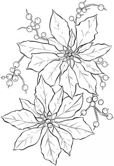See 4 Best Images Of Printable Line Art Inspiring Christmas Poinsettia Abstract Doodle Coloring Pages