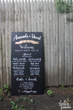 This is perfect! Maybe a tad big though. Personalized wedding program sign chalkboard by HelenXiaHandmade