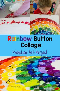 This easy preschool art project is my all-time favorite!! Your kids will love the process of making this button collage together, and the end result is stunning! It's great for a St. Patrick's Day project, a rainbow theme, or anytime you want to brighten up the room and or get some extra fine motor practice.