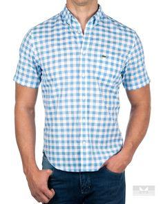 1cf28f2739344 Camisa Manga Corta Lacoste - Azul Cielo en 2019