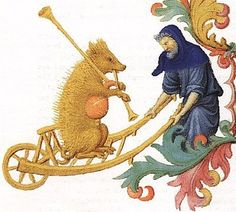 "The Visitation Tres Riches Heures du Duc de Berry MS 65 in Musee Conde at Chantilly Around Referred to as a ""bear plays the bagpipes in a wheelbarrow"" but is obviously a pig by the corse hair and curly tail. Medieval Music, Medieval Art, Medieval Fantasy, Medieval Times, Renaissance, Medieval Manuscript, Illuminated Manuscript, Landsknecht, Book Of Hours"