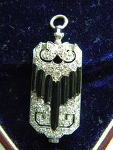 Antique Deco Diamond Carved Onyx Platinum Ladies Watch Fob France