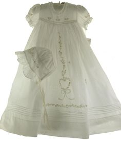 Girls Off White Baptism Christening Gown & Bonnet - Rosalina - Hiccups Childrens Boutique