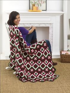 Southern Cross Afghan Crochet Pattern from Red Heart Yarn | FaveCrafts.com