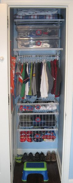 Neat Little Nest Organizing a Small Kids Closet. This blog has many organization projects and DIY tutorials. #Organize #Closet #Boy
