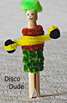 Wooden Peg 'Disco Dude'