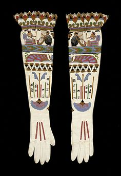 Pair of Woman's Gloves France, circa 1925 Costumes; Accessories Leather with silk embroidery Length: 24 in. (60.96 cm); Width: 7 in. (17.78 ...