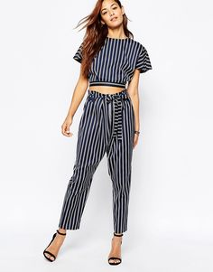 ASOS Peg Trousers in Stripe with Paper Bag Waist Co-ord