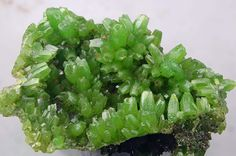 Kiwi-green Pyromorphite: A secondary lead mineral found in the oxidised zones of lead deposits. Typically found as green, yellowish, brownish, greyish or white barrel-shaped hexagonal prisms, in clusters or as druses on matrix. The individual crystals are often modified or etched, giving a hopper-like appearance. Pyromorphite stimulates new ways of thinking and is particularly useful when a change of direction is required.