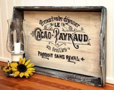 DesignDreams by Anne: Easy French Graphic Tray Makeover Chalk Paint Projects, Diy Wood Projects, Furniture Projects, Wood Crafts, Easy Diy Crafts, Crafts To Make, Fun Crafts, Wood Transfer, Rough Wood