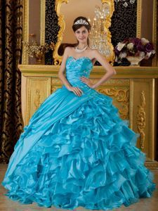 Baby Blue Ruffled for 2013 Sweet 16 Birthday Party Dress Cheap - Quinceanera 100