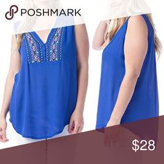 Royal Blue Embroidered Top Lightweight, semisheer sleeves Plus Size Top. Embroidered Vneck line with three button detail. Tops Blouses