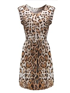 Sexy Leopard Printed Sleeveless Women Mini Dress - Gchoic.com #Dresses #Women #Fashion #Latest