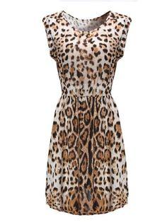 Sexy Leopard Printed Sleeveless Women Mini Dress - Gchoic.com #Dresses #Women #Fashion #Latest