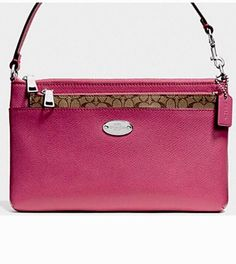 COACH Crossbody Handbag Purse With Poo Up Zip Pouch Leather Sunset Red 52881 NWT  | eBay