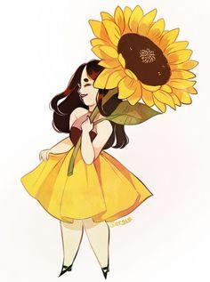 "sergle: "" it's a parasol! 🌻 🌻 finally got around to making that sunflower girl. Sunflower Drawing, Sunflower Art, Sunflower Design, Sunflower Quotes, Sunflower Illustration, Illustration Art, Illustrations, Cartoon Kunst, Cartoon Art"