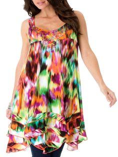 NEW LADIES Embellished Tie-Dye Tropical Melon Tunic DRESS BLOUSE PLUS SIZE 18-28