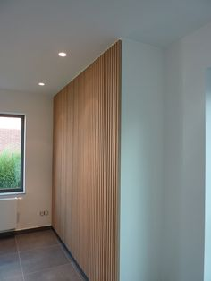 Possible storage closet door aesthetic? Feature Wall Design, Wall Decor Design, Diy Room Divider, Slat Wall, Wall Cladding, Loft Design, House Entrance, Home Design Plans, Living Spaces