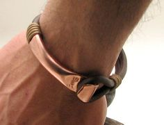 FREE SHIPPING Mens leather bracelet. Brown leather multi strand mens bangle bracelet with hammered copper clasp