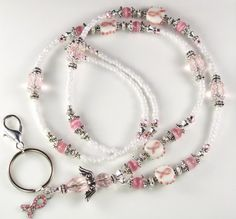 Beaded Lanyard HOPE Angel ID Badge Holder  Breast by curlynetto, $21.99