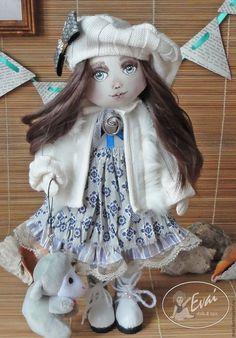 Купить Анна. Текстильная кукла - серый, кукла ручной работы, кукла в подарок, текстильная кукла
