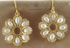 White and gold flower earrings by ~Fleur-de-Irk on deviantART